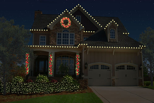 Roofline with Bushes and Estate Greenery Package