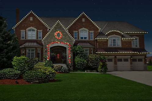 Roofline with Bushes and Trees and Estate Greenery Package