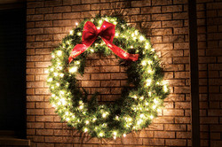 Residential Holiday Lights Wreath