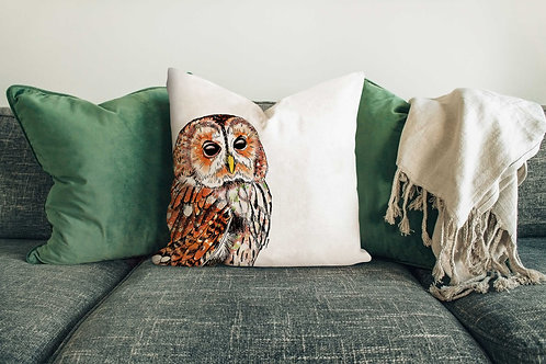 Tawny owl cushion made in the UK designed by Rebecca Sawyer