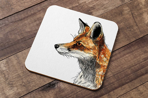 Red fox table coaster made in the UK