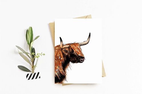 Highland Cow greeting card by Rebecca Sawyer at R.Sawyer Designs