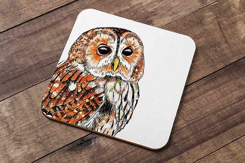 Tawny owl table coaster made in the UK
