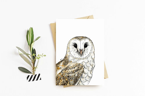 Barn Owl greeting card by Rebecca Sawyer at R.Sawyer Designs