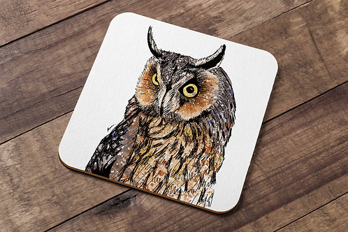 Long-eared owl table coaster made in the UK