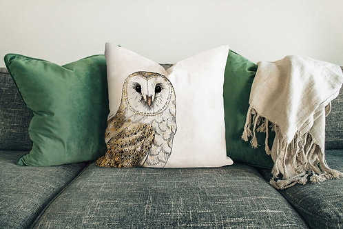 Barn owl cushion made in the UK designed by Rebecca Sawyer