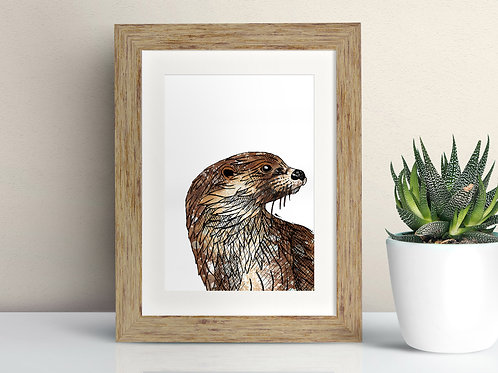 European Otter framed art illustration by Rebecca Sawyer at R.Sawyer Designs