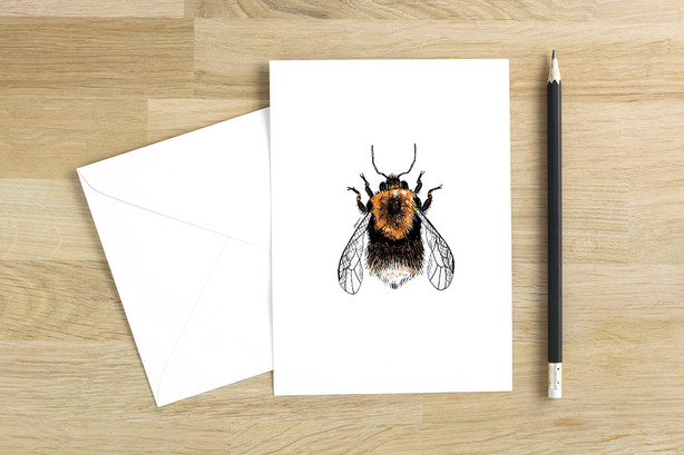 Tree Bumblebee blank greetings card