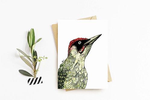 Green Woodpecker greeting card by Rebecca Sawyer at R.Sawyer Designs