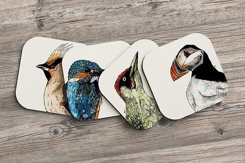 British birds coaster set - 4 pack