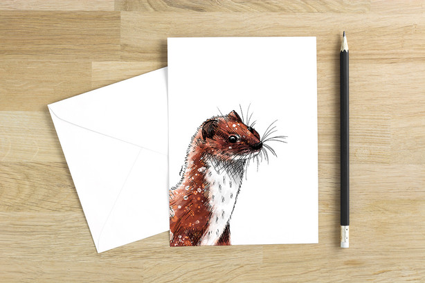 Weasel blank greetings card