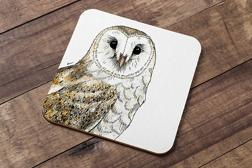 Barn owl table coaster made in the UK