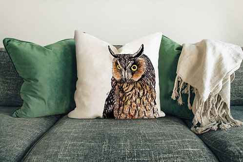 Long-eared owl cushion made in the UK designed by Rebecca Sawyer