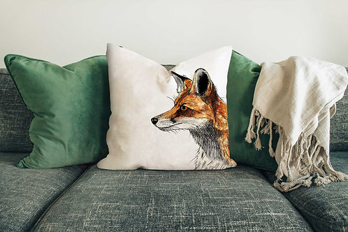 Red fox cushion made in the UK designed by Rebecca Sawyer