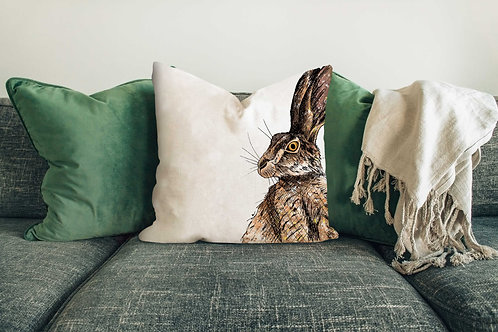 Brown hare cushion made in the UK designed by Rebecca Sawyer