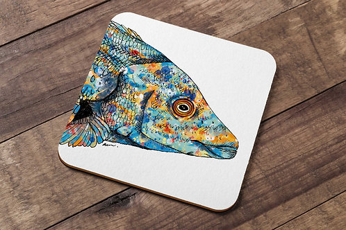 Cuckoo Wrasse table coaster made in the UK by R.Sawyer Designs