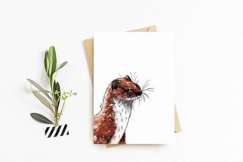 Weasel greeting card by Rebecca Sawyer at R.Sawyer Designs