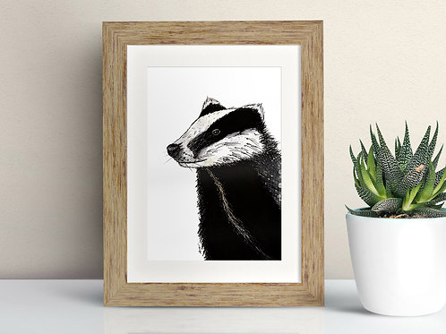 Badger framed art illustration by Rebecca Sawyer at R.Sawyer Designs