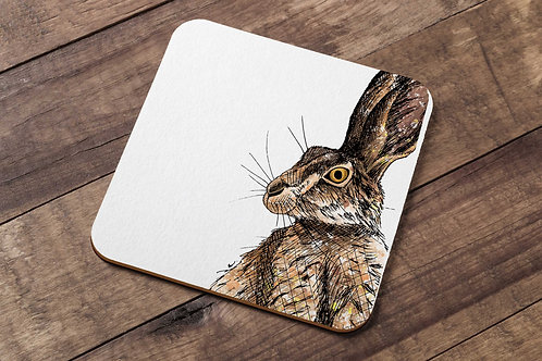 Brown hare table coaster made in the UK