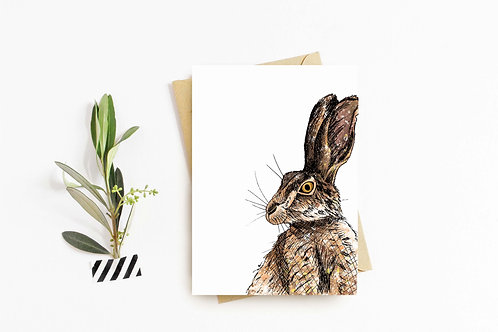 Brown Hare greeting card by Rebecca Sawyer at R.Sawyer Designs