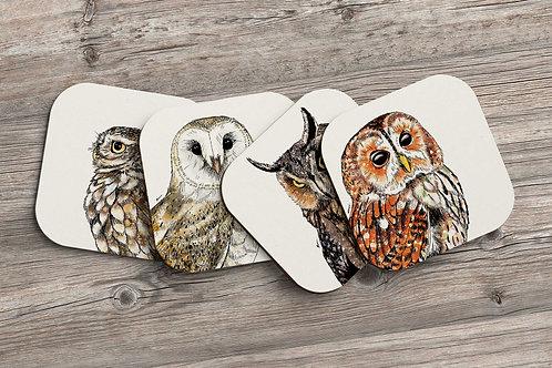 Owls coaster set - 4 pack