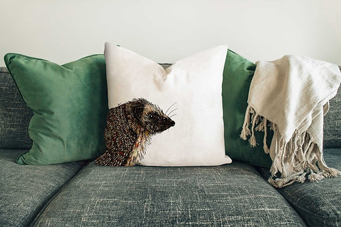 Hedgehog cushion made in the UK designed by Rebecca Sawyer