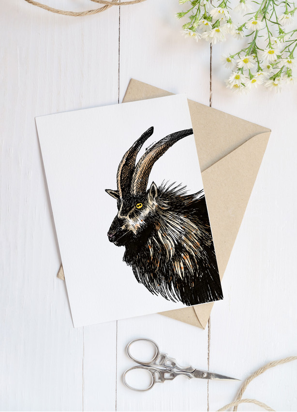 Welsh mountain Goat blank greetings card