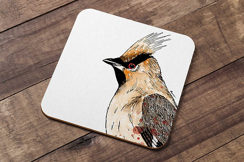 Waxwing table coaster made in the UK