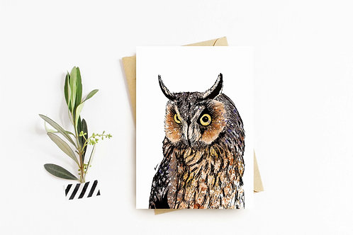 Long Eared Owl greeting card by Rebecca Sawyer at R.Sawyer Designs