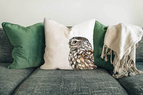 Little owl cushion made in the UK designed by Rebecca Sawyer