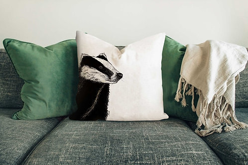 Badger cushion made in the UK designed by Rebecca Sawyer