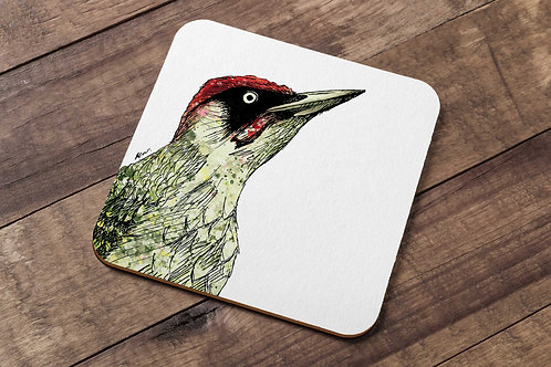 Green Woodpecker table coaster made in the UK