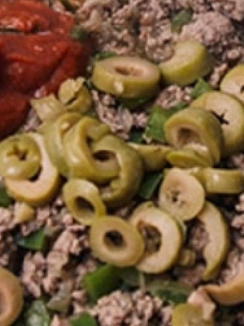 Carne moida  de patinho  com azeitonas (PARA 2 a 3 PESSOAS)