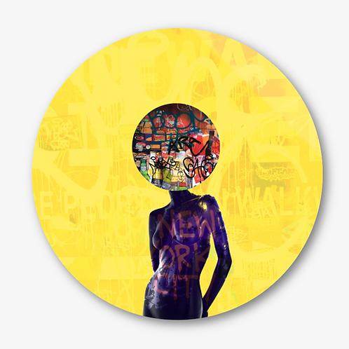 "Circular Glass Artwork -""New York Doll"" (2020)"