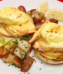 Salmon Eggs Benedict for Breakfast with Potatoes