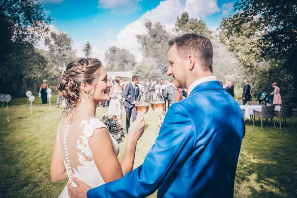 Sommerlicher Sektempfang Hochzeitsfotografie Crailsheim