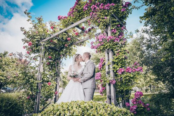 Hochzeitskuss im Rosenbogen Hochzeitsfotografie Dinkelsbühl