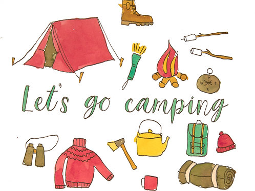'Let's Go Camping'Greeting Card