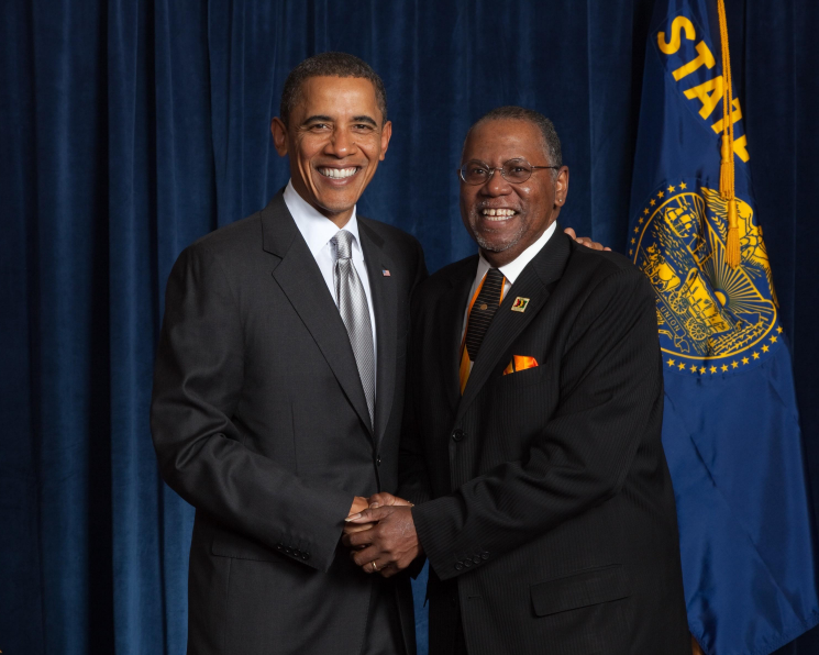 Former President Obama and Sam Brooks, OAME Founder and Chairman of the Board