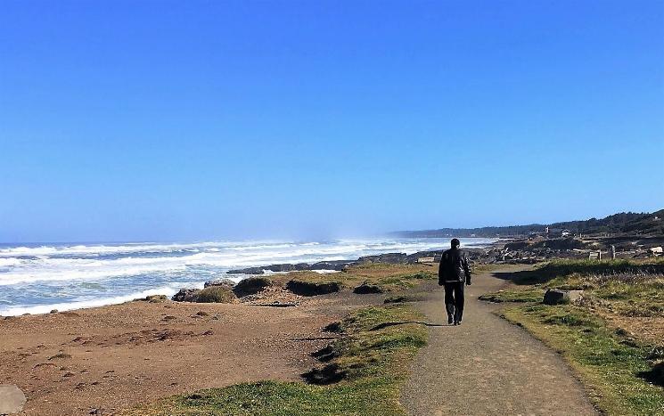 A man is walking along the beach