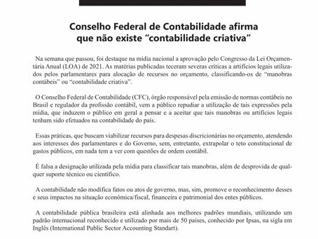 """Nota de Esclarecimento: CFC afirma que não existe """"contabilidade criativa"""""""