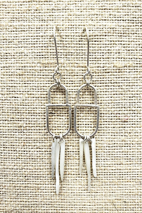 Sterling Bridle Bit Earrings with Cat Fish Bones
