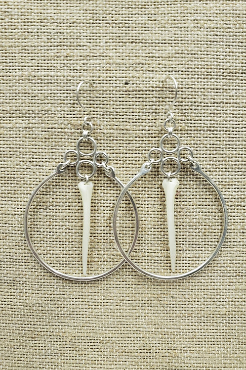 Sterling Hoops with Car Fish Bone