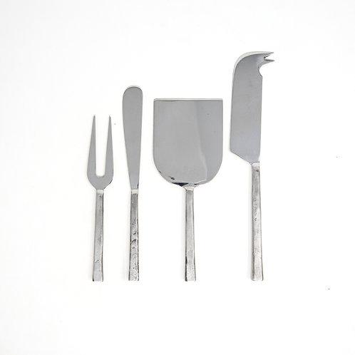 Large Modern Set of 4 Hammered Steel Cheese Utensils