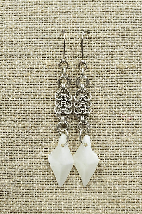 Sterling Chain Mail Earrings with Gar Fish Scale