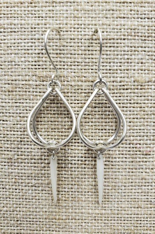 Sterling Cage Earrings with Mini Cat Fish Bone