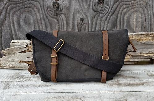 Canvas Postal Bag in Washed Black