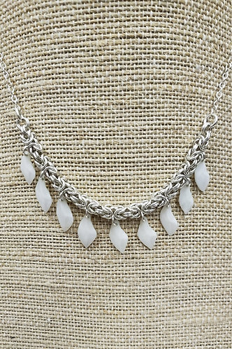 Sterling Chain Mail Necklace with Gar Fish Scales