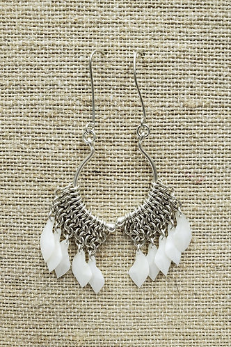 Sterling Swan Chain Mail Earrings with Gar Fish Scales