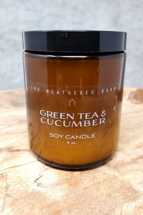 Green Tea & Cucumber Hand Poured Soy Candle